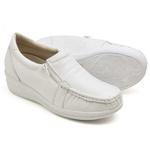 Sapato Feminino Mocassim Comfort Anatomico Enfermagem Dentista Branco