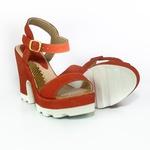 Sandália Salto Grosso Vermelho