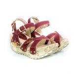 Sandália Feminina Top Franca Shoes Plataforma Anabela Vinho