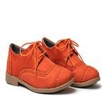 Sapato Feminino Oxford Casual Salto Baixo Laranja