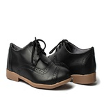 Sapato Feminino Oxford Casual Salto Baixo Preto