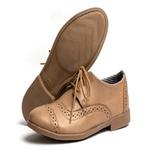 Sapato Feminino Oxford Casual Salto Baixo Taupe