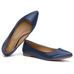 Sapatilha Feminina Bico Fino Top Franca Shoes Verniz Azul Marinho