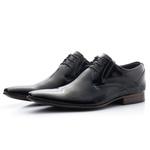 Sapato Social Masculino De Amarrar Preto Solado De Couro