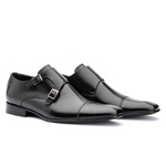 Sapato Monk Strap Masculino Preto Solado em Couro