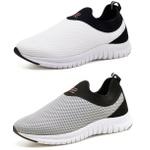 Kit 2 Tênis Masculino Esporte Fit Snap Shoes Branco / Cinza