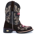 Bota Country Texana Bordada Cruz Rosa Couro Legítimo
