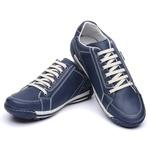 Sapatênis Confortável Couro Legítimo Azul