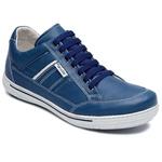 Sapatênis Confortável Couro Legítimo Azul Calce Fácil