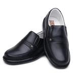 Sapato Casual Confortável Couro Legítimo Preto