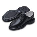 Sapato Casual Masculino com Cadarço Couro Legítimo Preto