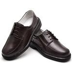 Sapato Casual Masculino com Cadarço Couro Legítimo Marrom