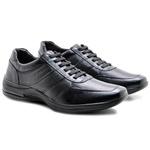 Sapato Casual Masculino Confortável Couro de Carneiro Preto Pipper