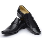 Sapato Social Confortável Couro Preto Masculino