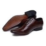 Sapato Social Oxford Masculino Couro Legítimo Marrom