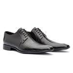 Sapato Social Couro Legítimo Preto Laser Com Cadarço