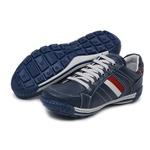 Tênis Sapatênis Couro Azul Masculino Confortável