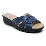 Sandália Feminina Super Confortável Couro Azul Torani