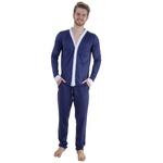 Pijama Homewear H.A. longo marinho/branco c/ botão