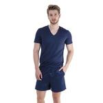 Pijama Homewear H.A. curto marinho gola V