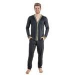 Pijama Homewear H.A. longo preto/verde c/ botão