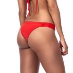 Calcinha de biquíni lateral média plissada Vermelho Pecado