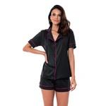 Pijama Homewear Colors Short e Camisa Preto/Pink