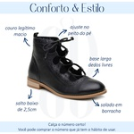 Bota Feminina Cano Curto Couro Legítimo Preto - Flórida - 554-01
