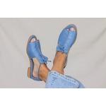Sandália Salto Baixo Freedom com Calcanhar Fechado Azul Hortência- 842-07