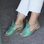 Sandália Salto Baixo Freedom com Calcanhar Fechado Verde Menta - 842-07
