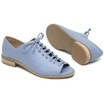Sapato Peep Toe Baixo Azul Hortência - Pisa - 842-13