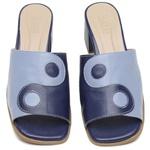 Mule Feminino Salto Grosso Azul Anil e Azul Hortência - Equilíbrio - 915-01