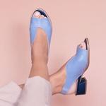 Sandália Salto Baixo Azul Hortência e Azul Anil - Florença 965-02