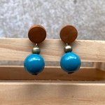 Brinco de Resina e Madeira Azul Petróleo - Andorinhas
