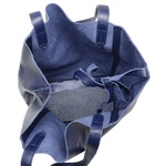 Bolsa de Couro Legítimo Feminina Asa Delta - Azul Anil