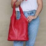 Bolsa Feminina de Couro Legítimo Média - Beverly - Vermelha
