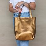 Bolsa de Couro Legítimo Feminina Envelope Bronze