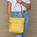Bolsa de Couro Legítimo Feminina Lotus - Amarela