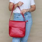 Bolsa de Couro Legítimo Feminina Lotus - Vermelha
