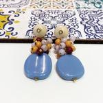 Brinco de Resina e Madeira Lavanda e Azul Hortência - Cascata