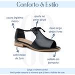 Sandália Salto Baixo Freedom com Calcanhar Fechado Preto- 842-07