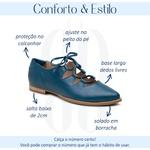 Sapatilha Feminina Bico Fino Couro Confortável Petróleo - Valência - 901-13