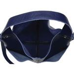Bolsa de Couro Legítimo Feminina Sacola Alongada Jade - Azul Anil e Hortência
