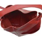 Bolsa de Couro Legítimo Feminina Sacola Alongada Jade Vermelha