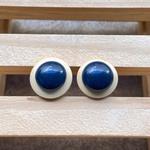 Brinco de Resina e Madeira Azul Anil - Lua