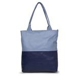 Bolsa de Couro Legítimo Feminina - Sacola Bicolor Azul Anil e Azul Hortência