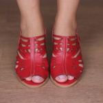 Sandália Salto Grosso Confortável Vermelho