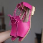 Sandália Salto Baixo Freedom com Calcanhar Fechado Rosa
