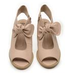 Sandália Salto Grosso Confortável de Laço Nude 177-18