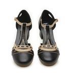 Sapato Boneca Bali - Salto Baixo Preto e Off - 908-05